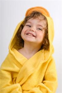 Laughing girl in yellow towel_300